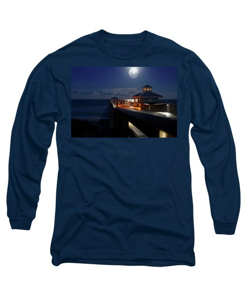 Long Sleeve T-Shirt featuring the photograph Super Moon At Juno Pier by Laura Fasulo