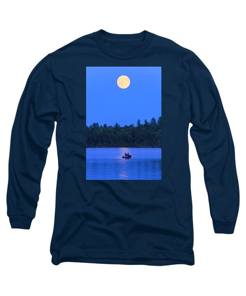 Long Sleeve T-Shirt featuring the photograph Super Moon At The Lake by Barbara West