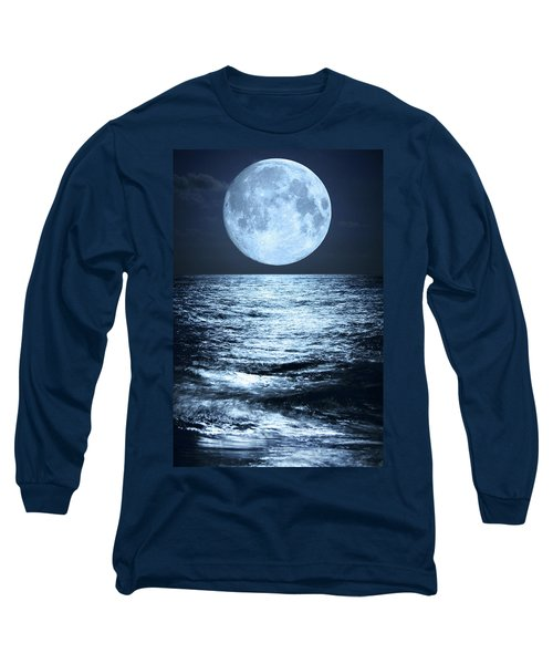 Super Moon Over Ocean Long Sleeve T-Shirt