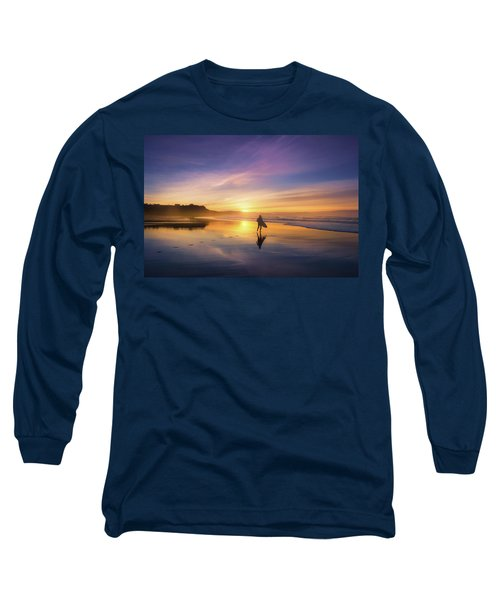 Surfer In Beach At Sunset Long Sleeve T-Shirt
