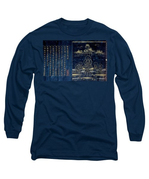 Long Sleeve T-Shirt featuring the drawing Sutra Frontispiece Depicting The Preaching Buddha by Unknown
