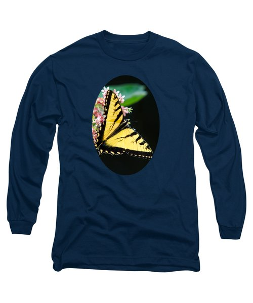 Swallowtail Butterfly And Milkweed Flowers Long Sleeve T-Shirt by Christina Rollo