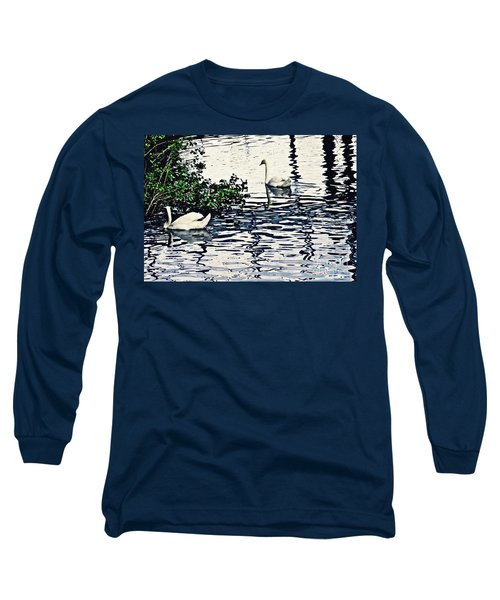 Long Sleeve T-Shirt featuring the photograph Swan Family On The Rhine 3 by Sarah Loft