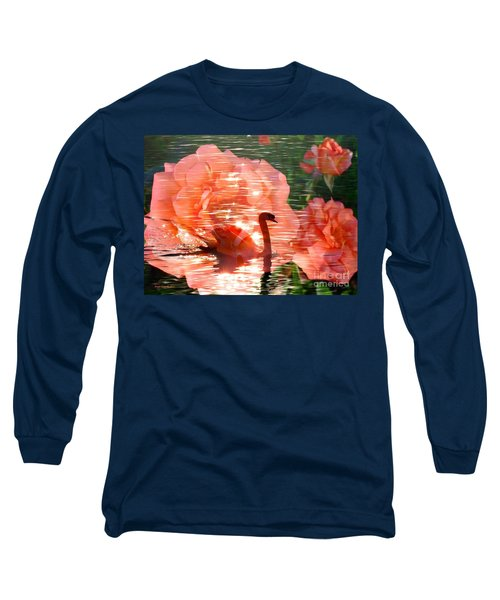 Swan In Lake With Orange Flowers Long Sleeve T-Shirt by Annie Zeno