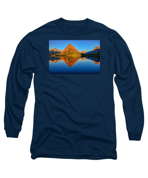 Long Sleeve T-Shirt featuring the photograph Swiftcurrent Morning Reflections by Greg Norrell