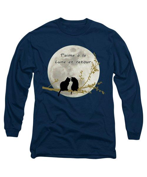 Long Sleeve T-Shirt featuring the digital art T'aime A La Lune Et Retour by Linda Lees