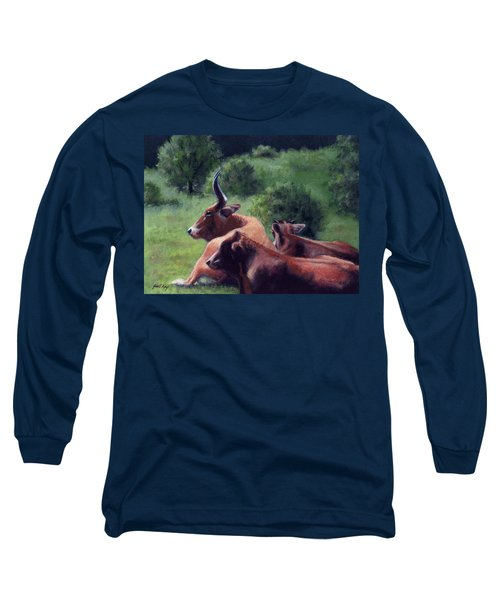 Long Sleeve T-Shirt featuring the painting Tennessee Longhorn Steers by Janet King