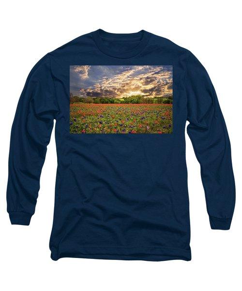Texas Wildflowers Under Sunset Skies Long Sleeve T-Shirt