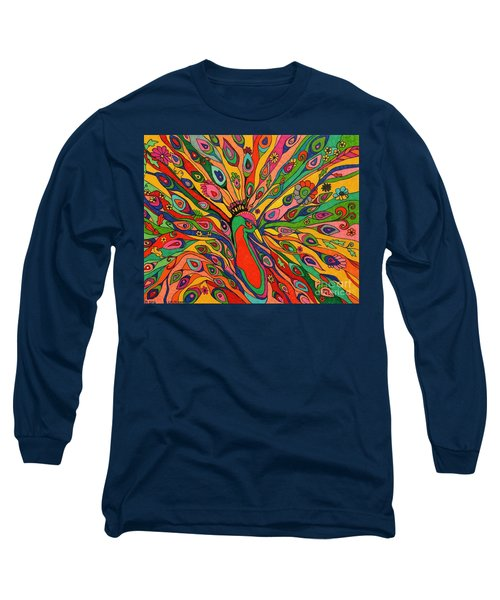 Long Sleeve T-Shirt featuring the painting That Bloomin Peacock by Alison Caltrider