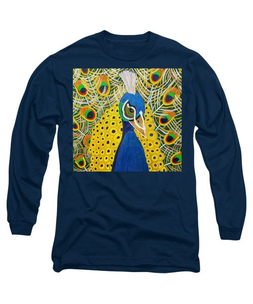 The Eye Of The Peacock Long Sleeve T-Shirt by Margaret Harmon