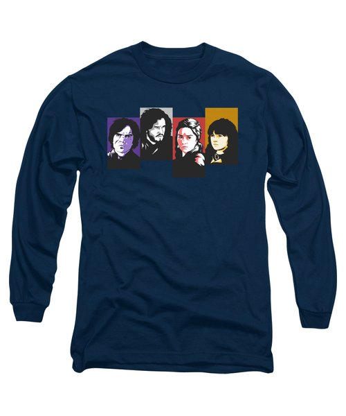 The Game Of Thrones My Favourite Characters 80s Style Jon Snow Khaleesi Tyrion Lannister Bran Stark Long Sleeve T-Shirt by Paul Telling