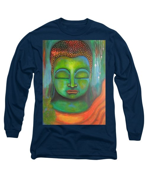 Long Sleeve T-Shirt featuring the painting The Green Buddha by Prerna Poojara