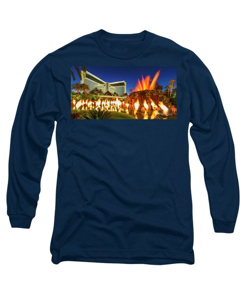 The Mirage Casino And Volcano Eruption At Dusk Long Sleeve T-Shirt by Aloha Art