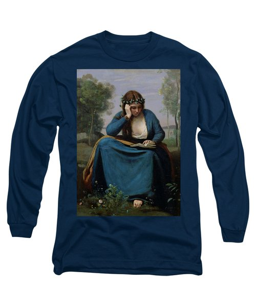 The Reader Crowned With Flowers Long Sleeve T-Shirt by Jean Baptiste Camille Corot