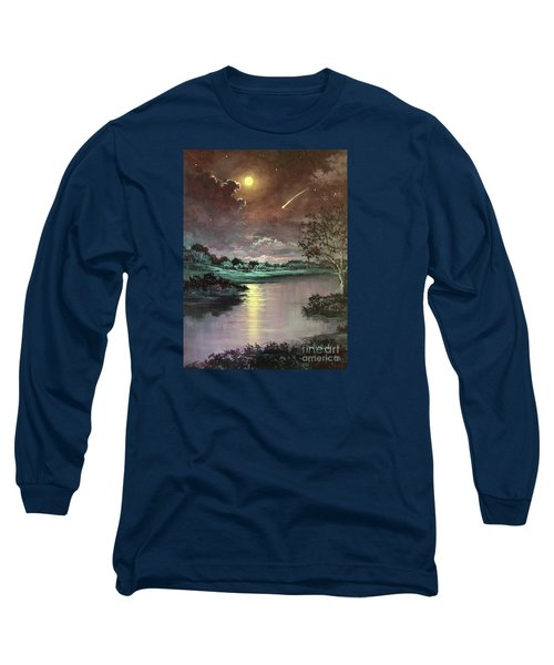 The Silence Of A Falling Star Long Sleeve T-Shirt by Randy Burns