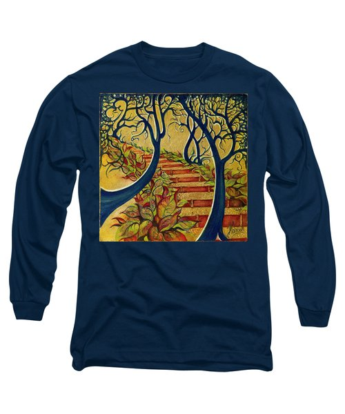 Long Sleeve T-Shirt featuring the painting The Stairs To Now by Anna Ewa Miarczynska