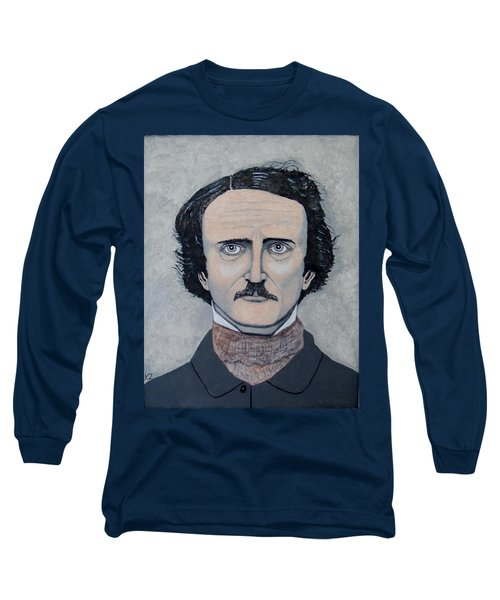 Long Sleeve T-Shirt featuring the painting The Telltale Heart Of Edgar Allen Poe. by Ken Zabel