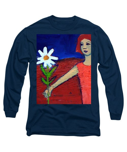 Long Sleeve T-Shirt featuring the painting The White Flower by Winsome Gunning