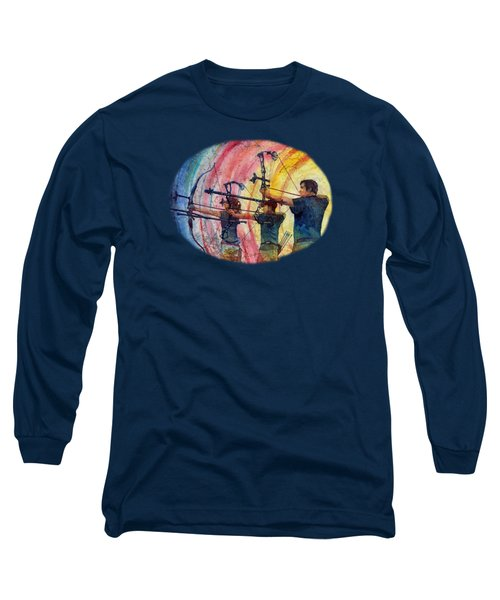 Long Sleeve T-Shirt featuring the painting Three 10s by Hailey E Herrera