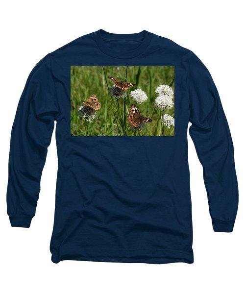 Three Buckeye Butterflies On Wildflowers Long Sleeve T-Shirt by Sheila Brown