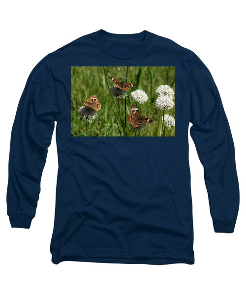 Three Buckeye Butterflies On Wildflowers Long Sleeve T-Shirt