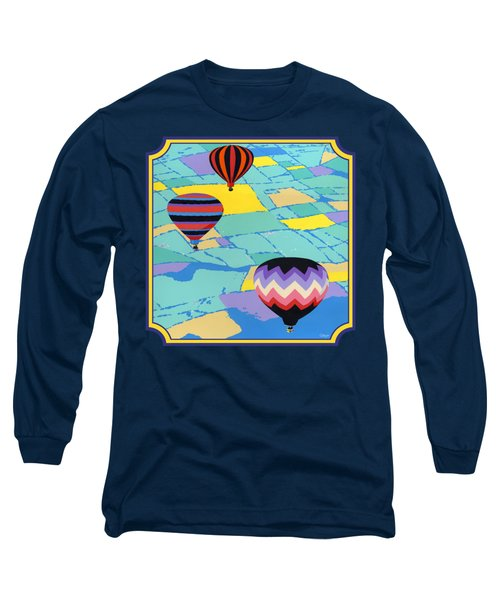 Three Hot Air Balloons Arial Absract Landscape - Square Format Long Sleeve T-Shirt