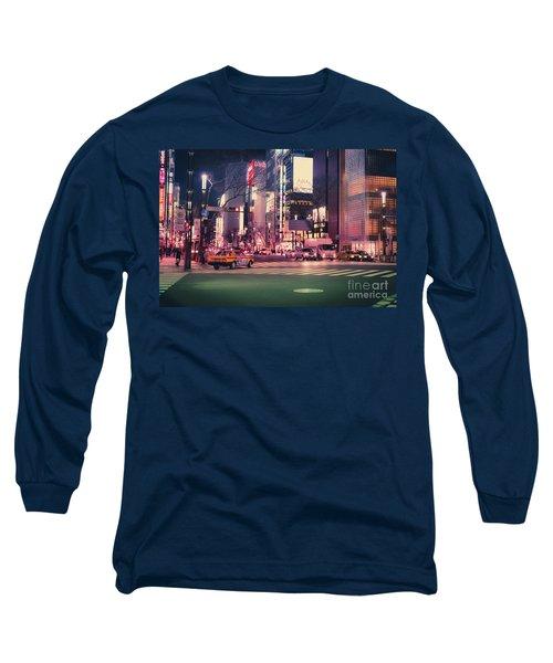 Tokyo Street At Night, Japan 2 Long Sleeve T-Shirt