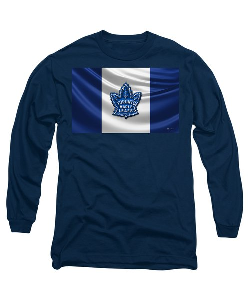 Toronto Maple Leafs - 3d Badge Over Flag Long Sleeve T-Shirt