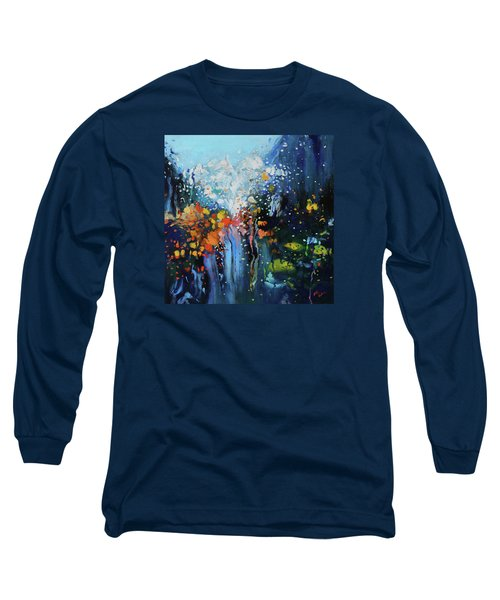 Traffic Seen Through A Rainy Windshield Long Sleeve T-Shirt by Dan Haraga