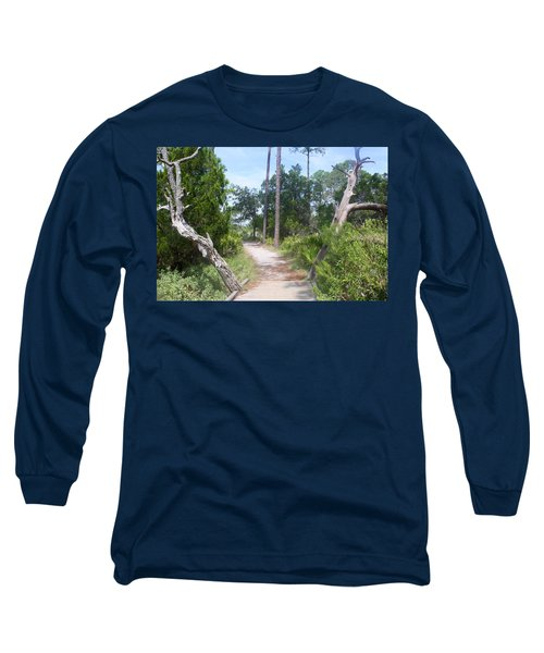 Trail On Hunting Island Long Sleeve T-Shirt by Ellen Tully