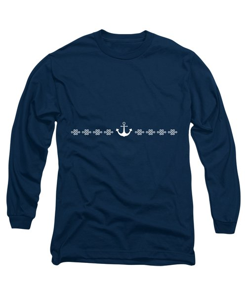 Treasure Knot And Anchor In White Long Sleeve T-Shirt