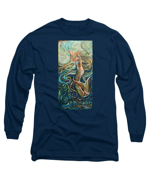 Treasure Mermaid Long Sleeve T-Shirt by Linda Olsen