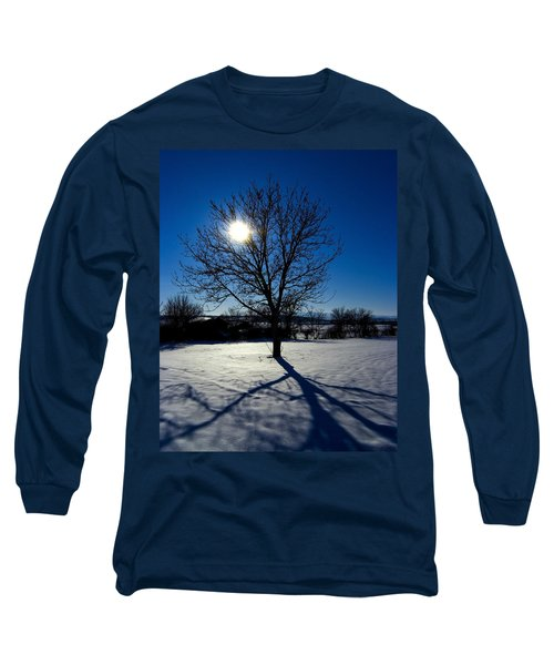 Tree Into Sun On A Winter Snowy Afternoon Long Sleeve T-Shirt