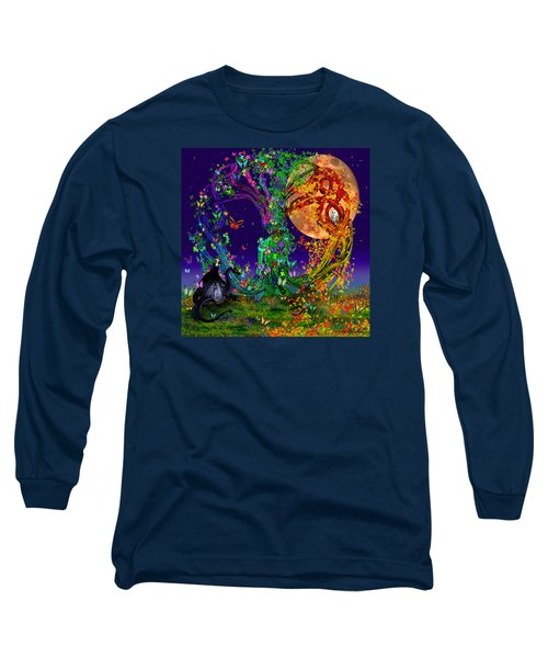 Tree Of Life With Owl And Dragon Long Sleeve T-Shirt