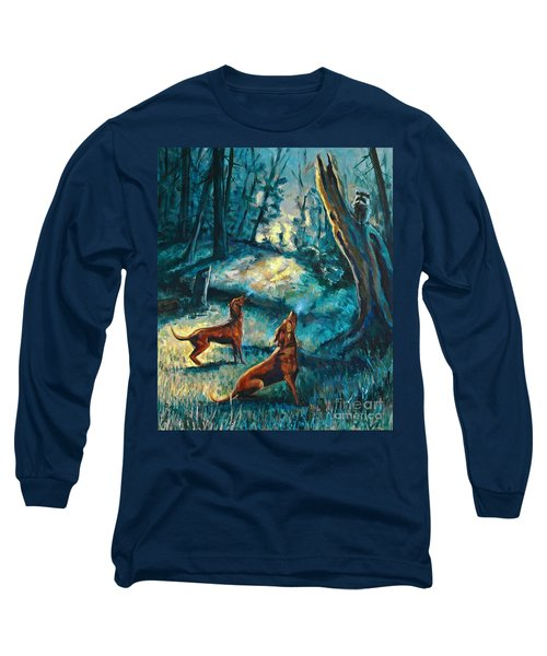 Long Sleeve T-Shirt featuring the painting Treed At Dawn by Suzanne McKee
