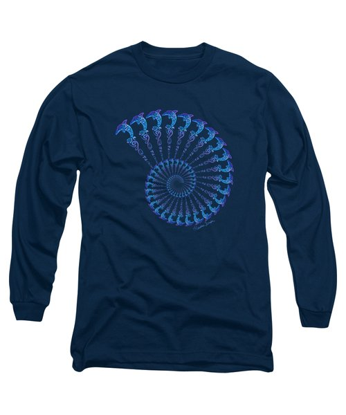 Tribal Dolphin Spiral Shell Long Sleeve T-Shirt
