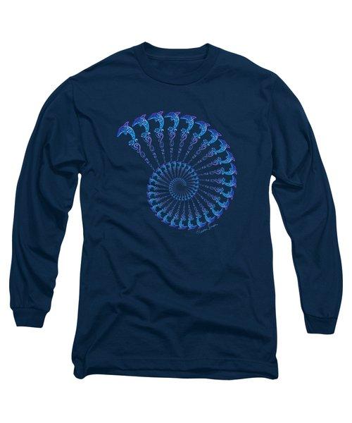 Tribal Dolphin Spiral Shell Long Sleeve T-Shirt