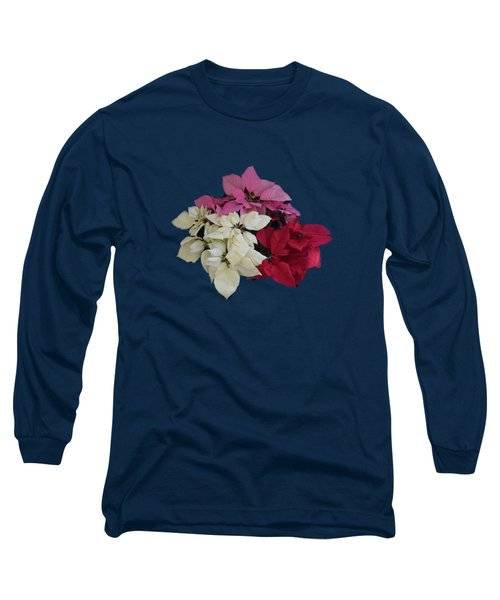 Tricolor Poinsettias Transparent Background   Long Sleeve T-Shirt by R  Allen Swezey