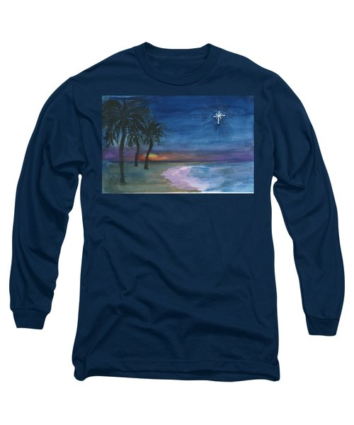 Long Sleeve T-Shirt featuring the painting Tropical Christmas by Donna Walsh