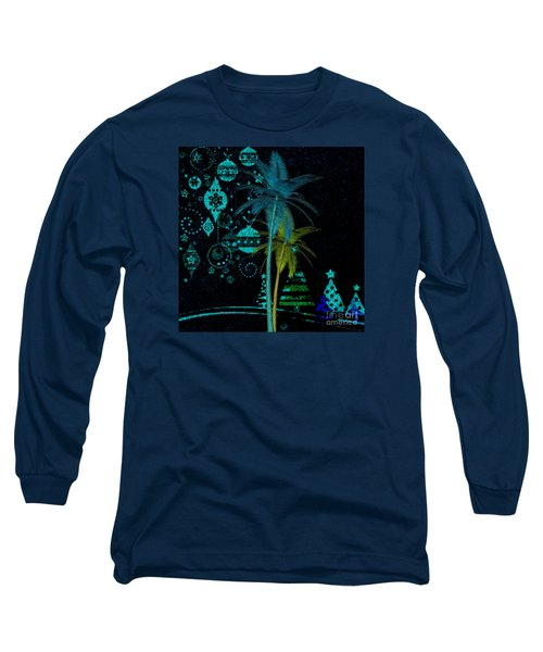 Long Sleeve T-Shirt featuring the digital art Tropical Holiday Blue by Megan Dirsa-DuBois