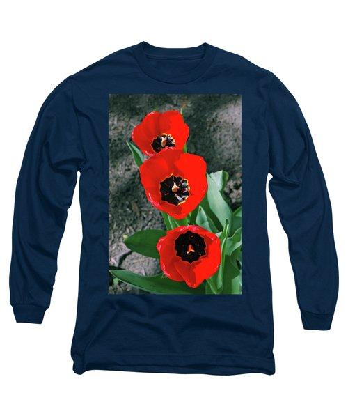 Long Sleeve T-Shirt featuring the photograph Tulip Trio by LeeAnn McLaneGoetz McLaneGoetzStudioLLCcom