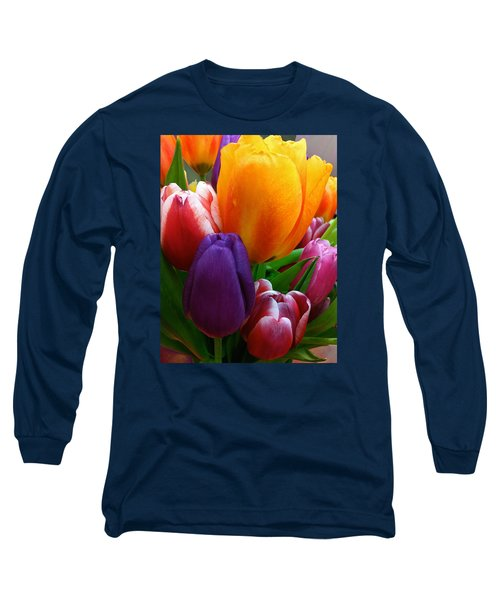 Long Sleeve T-Shirt featuring the photograph Tulips Smiling by Marie Hicks