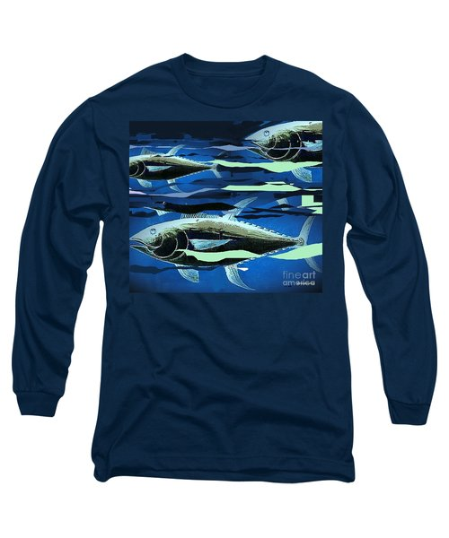 Long Sleeve T-Shirt featuring the painting Tuna Run by Andrew Drozdowicz