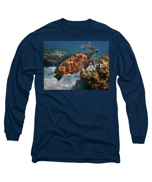 Turtle And Shark Swimming At Ocean Reef Park On Singer Island Florida Long Sleeve T-Shirt