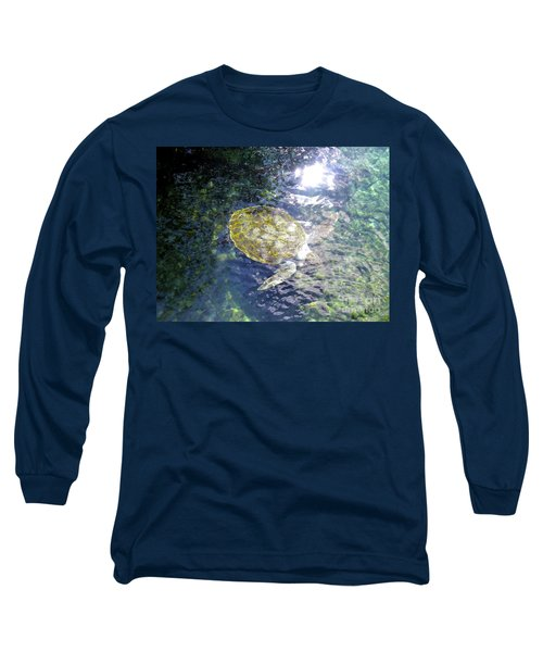 Long Sleeve T-Shirt featuring the photograph Turtle Water Glide by Francesca Mackenney