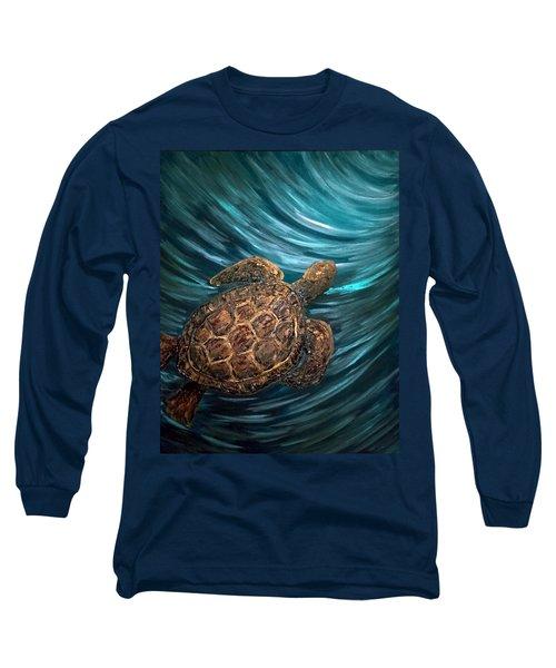 Turtle Wave Deep Blue Long Sleeve T-Shirt