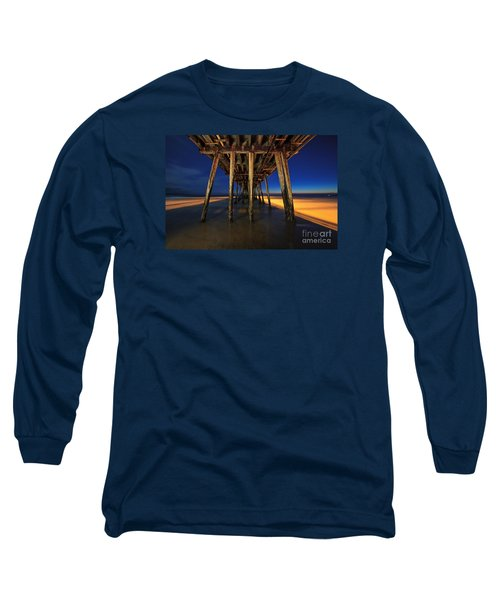 Twilight Under The Imperial Beach Pier San Diego California Long Sleeve T-Shirt by Sam Antonio Photography