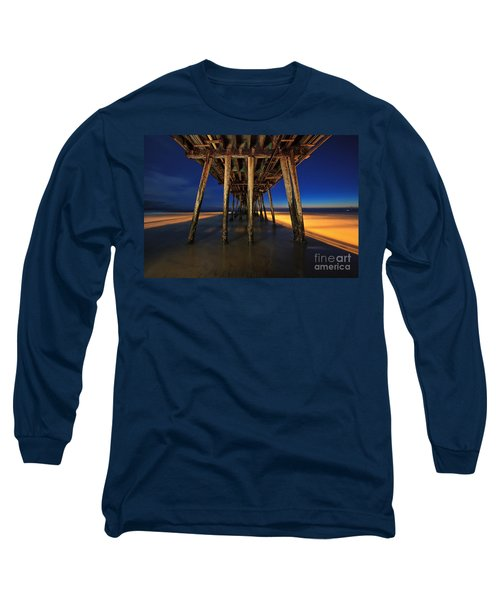 Twilight Under The Imperial Beach Pier San Diego California Long Sleeve T-Shirt