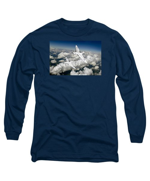 Long Sleeve T-Shirt featuring the photograph Two Avro Vulcan B1 Nuclear Bombers by Gary Eason
