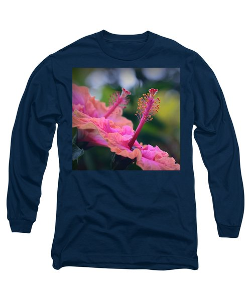 Two Hibiscus Long Sleeve T-Shirt by Lori Seaman
